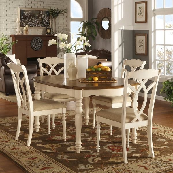 Shayne Country Antique Two Tone White Extending Dining Set By