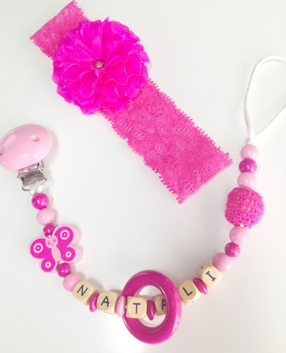 Personalized wooden baby girl pacifier clip by YPhandmadeCreations