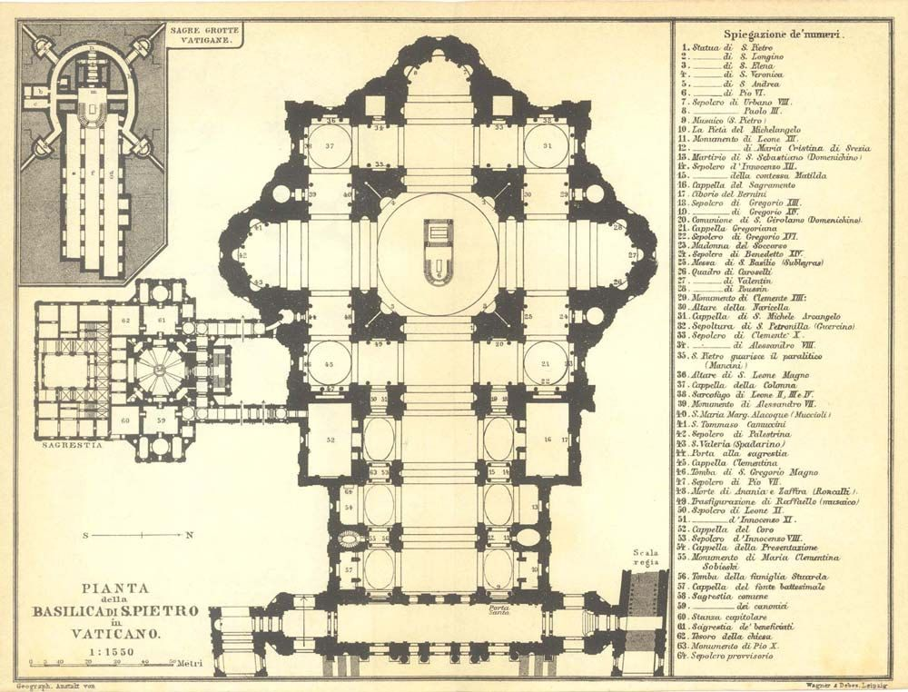 1926 St. Peters Basilica Floor Plan, Vatican City, Black