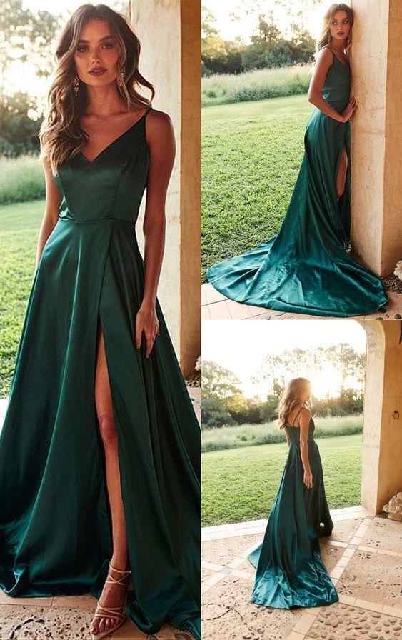 A-Line V-Neck Satin Long Prom Dress with Split Dark Green Evening Dress – Vestidos verdes