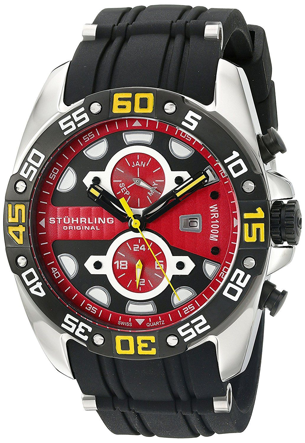 Stuhrling Original Men's 'Symphony' Swiss Quartz Stainless Steel and Silicone Sport Watch, Color:Black (Model: 346.331664) -- Want to know more, click on the image.