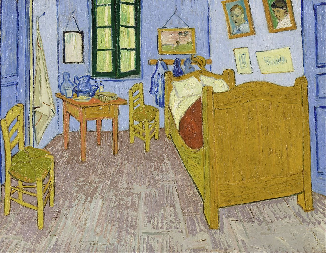 Bedroom in Arles, Third version, end September 1889. Oil on canvas, 57.5 x 74 cm, Van Gogh. Note that the wall was originally violet