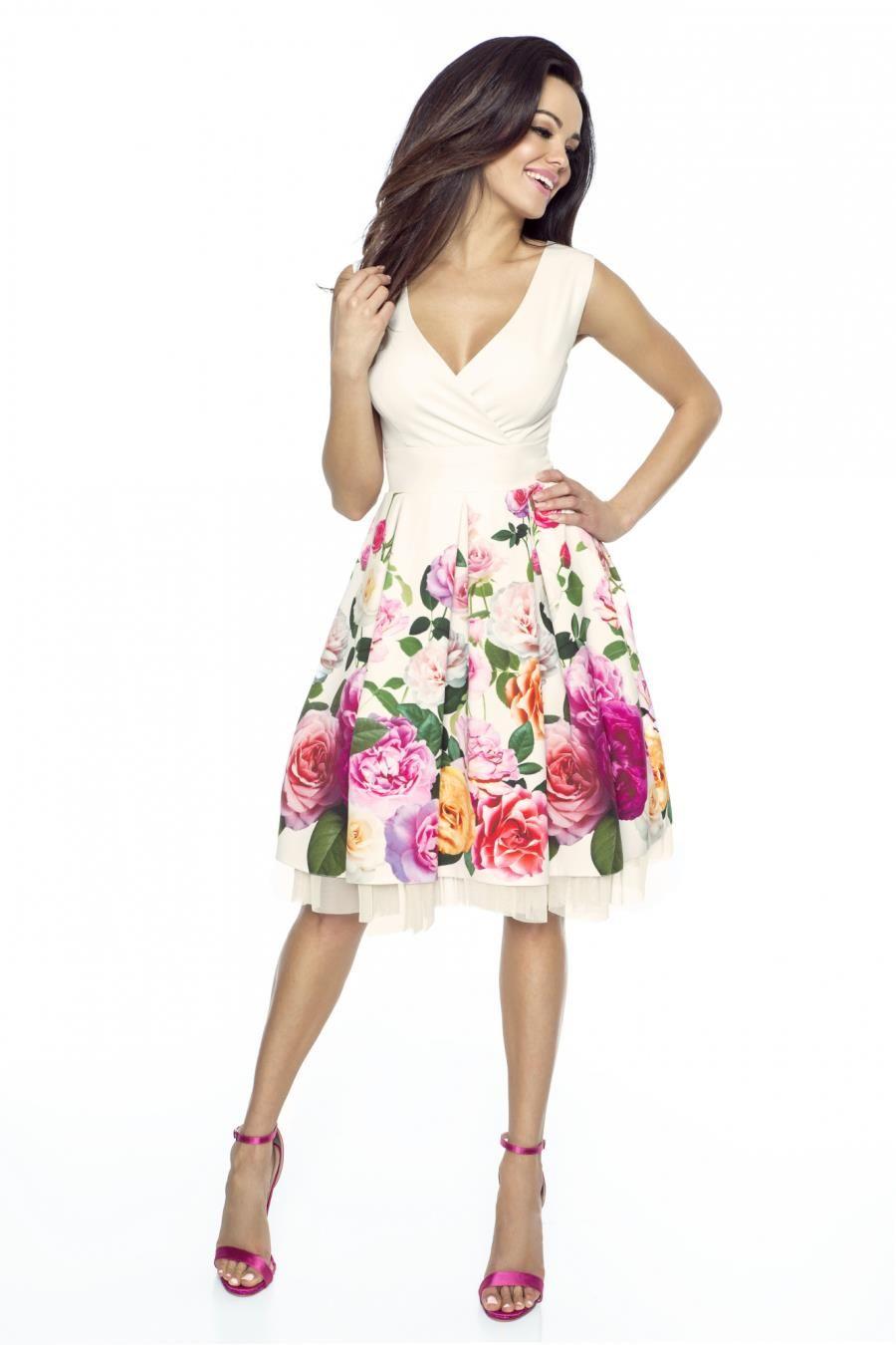 a13ef1039fb662 sukienki, wesele, zabawę, kwiaty, rozkloszowane, sklep, online | the ...