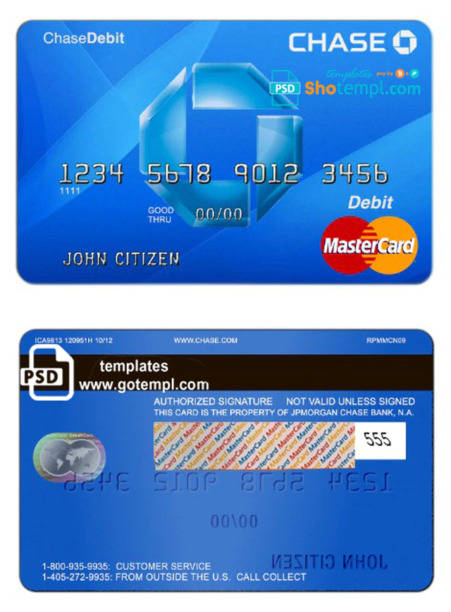 Usa Chase Bank Mastercard Debit Card Template In Psd Format Fully Editable Chase Bank Debit Card Card Template