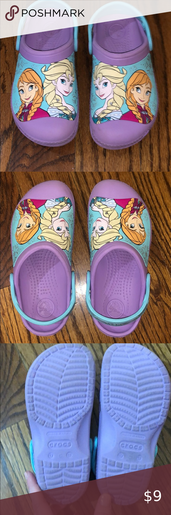 Girls Elsa and Anna Crocs size 12/13 in