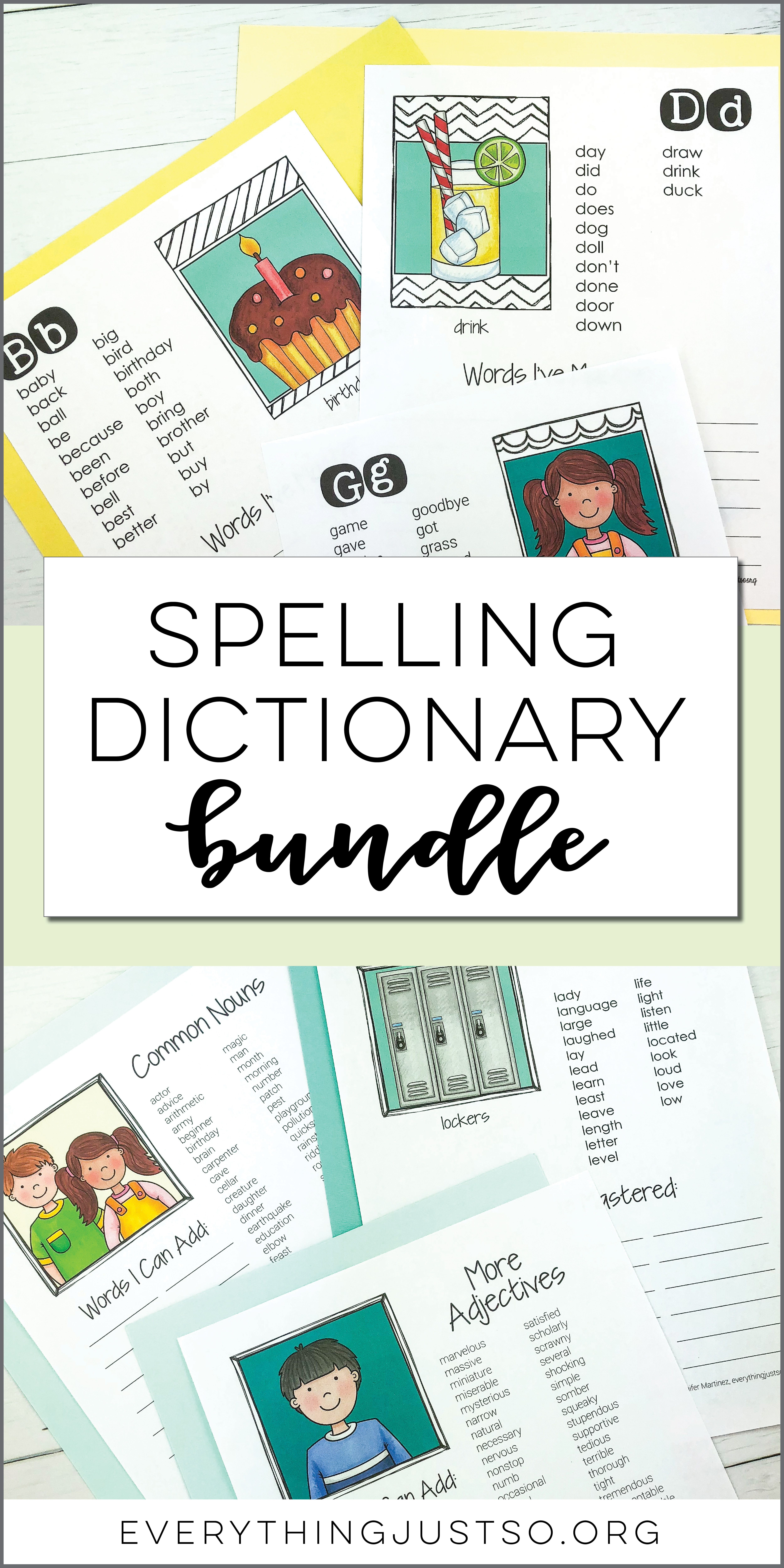 Spelling Dictionary Bundle | Spelling Dictionaries are the