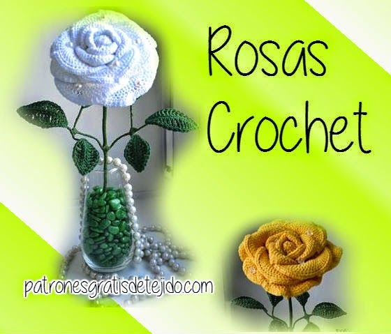 Crochet y Dos agujas: Patrones rosa tejida al crochet con paso a ...