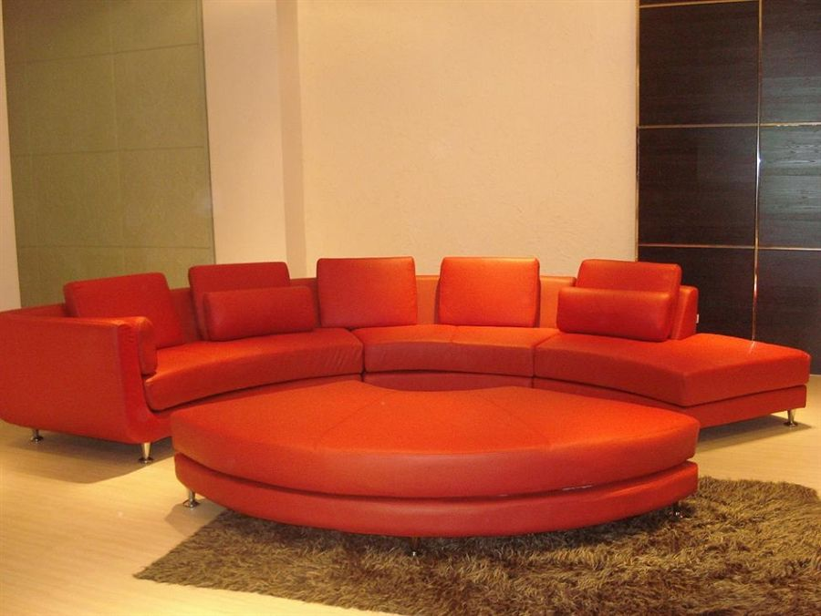 Contemporary S Shaped Curved Red Velour Fabric Sectional