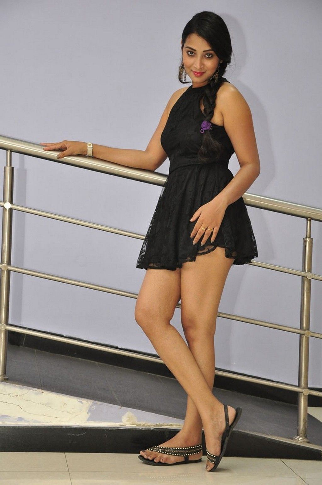 c87a2d875aa Bhanusri Sizzles in a Micro mini skirt and sleeveless balck top at Dandu Movie  Audio Release
