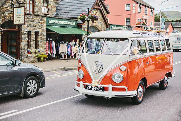 Orange VW van wedding car