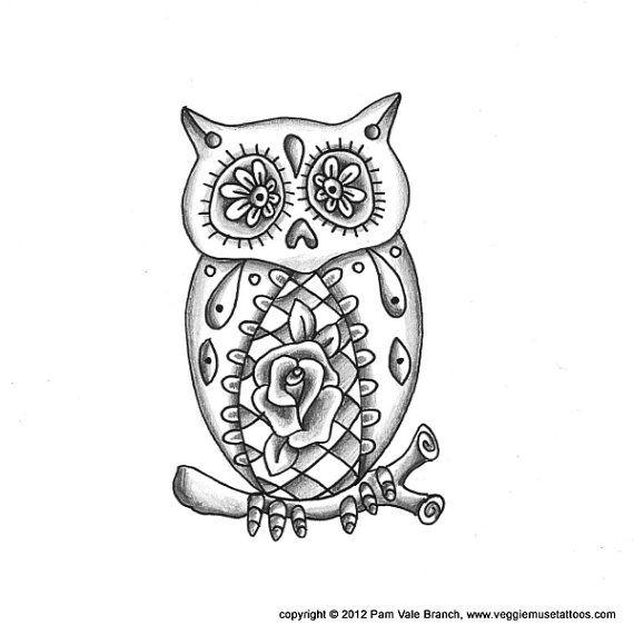0017 Sugar Skull Owl Tattoo Design by veggiemusetattoos on ...
