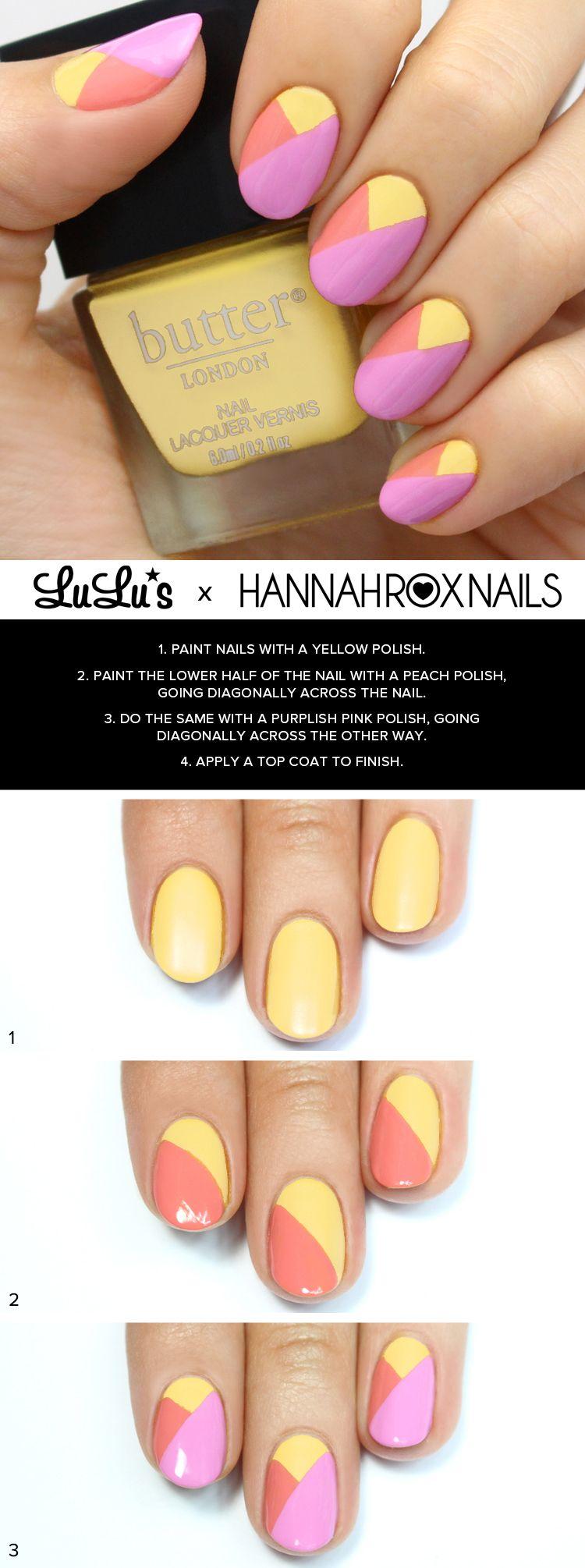Mani Monday: Purple and Yellow Color Block Nail Tutorial (Lulus.com ...