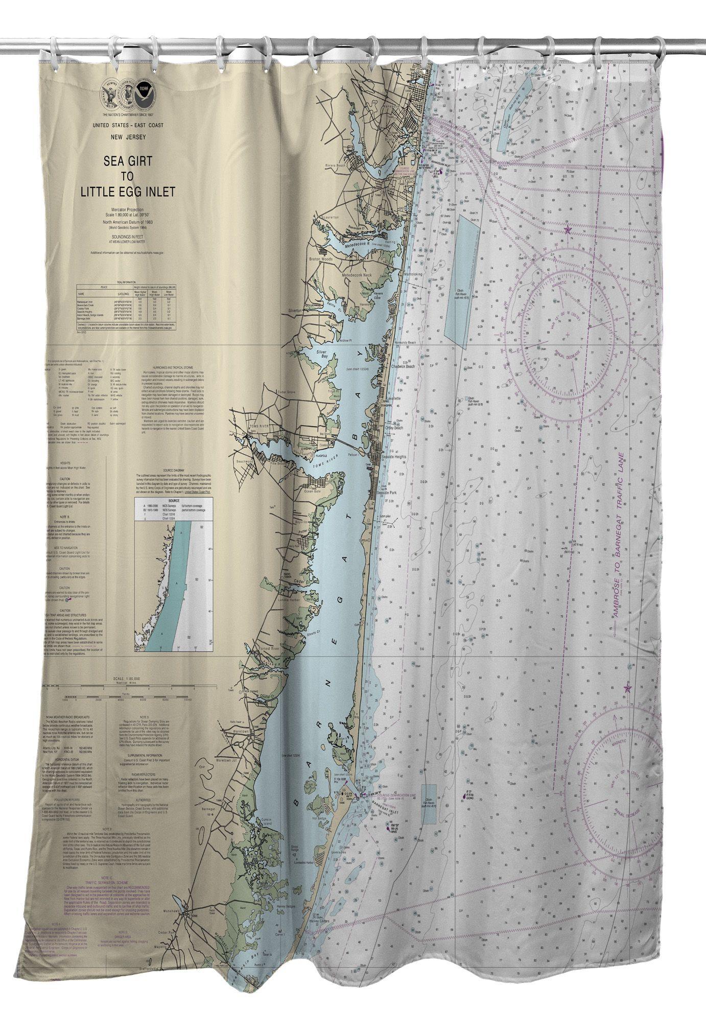 Nj Sea Girt To Barnegat Inlet Nj Nautical Chart Shower Curtain Sea Girt Curtains Nautical Chart