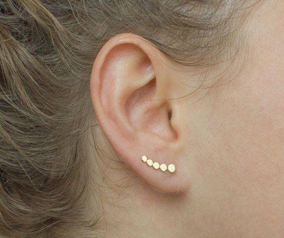 Small Ear Climber Dainty Gold Ear Climber Gold Circle Ear Climber Minimal Ear Climber Minimal Gold Earrings Delicate Ear Climbers In 2020 Ear Climbers Earrings Ear Jacket Earring Silver Silver Ear Jacket