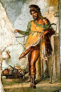 A number of Roman paintings of Priapus have survived. One of the most famous images of Priapus is that from the House of the Vettii in Pompeii. A fresco depicts the god weighing his phallus against a bag full of money; it appears that his phallus is heavier. In nearby Herculaneum, an excavated snack bar has a painting of Priapus behind the bar, apparently as a good-luck symbol for the customers.