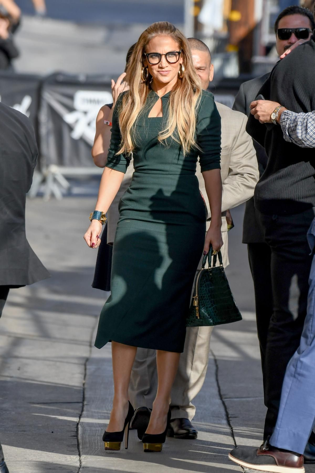 f10576886422a Jennifer Lopez wearing Charlotte Olympia Dolly Platform Pumps