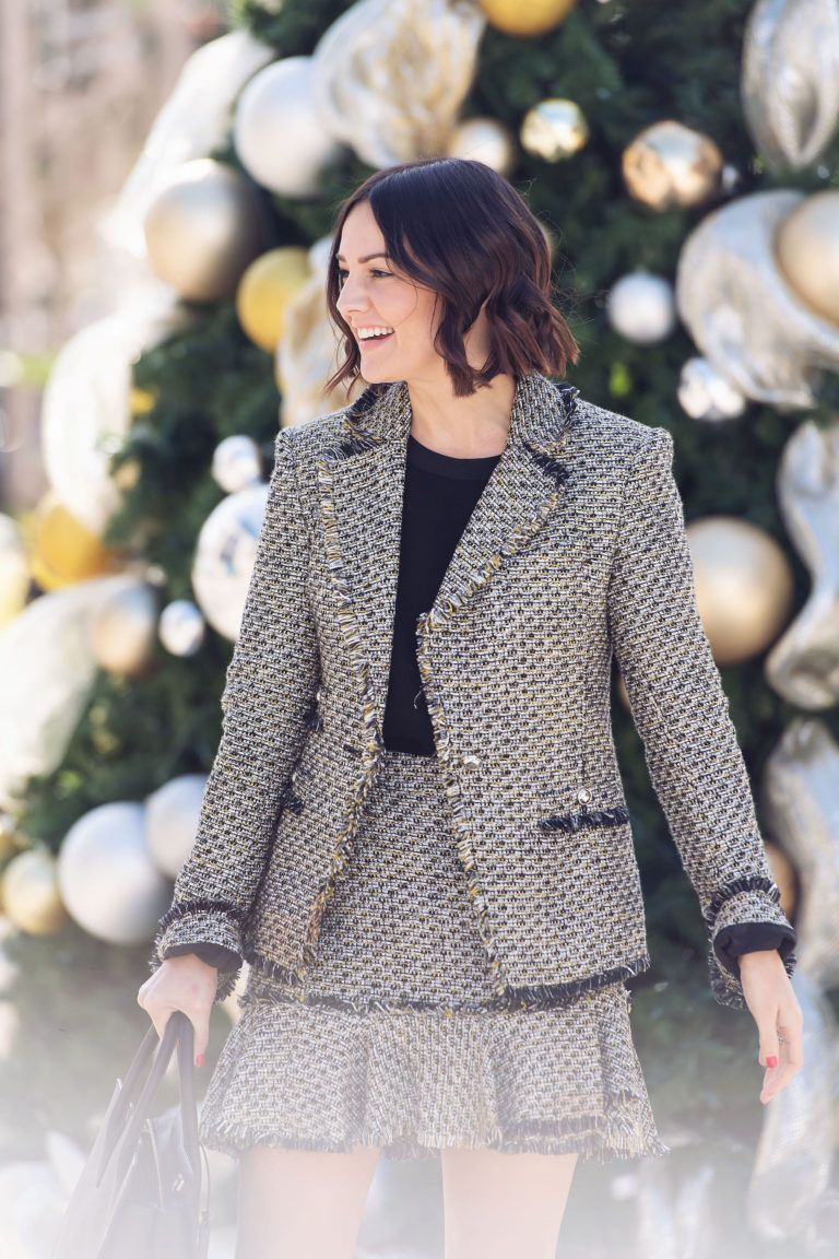 838651ca5a0c8 Work Holiday Party Outfit Inspiration from Caroline Harper Knapp of House  of Harper. This tweed set is festive and perfect for a work party.