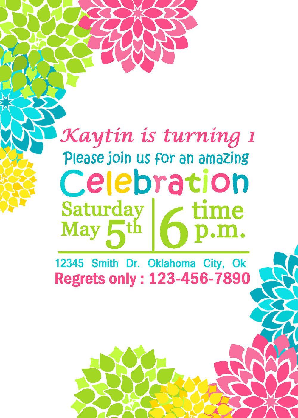 SUMMER Girls Birthday Invitation PRINTABLE Party