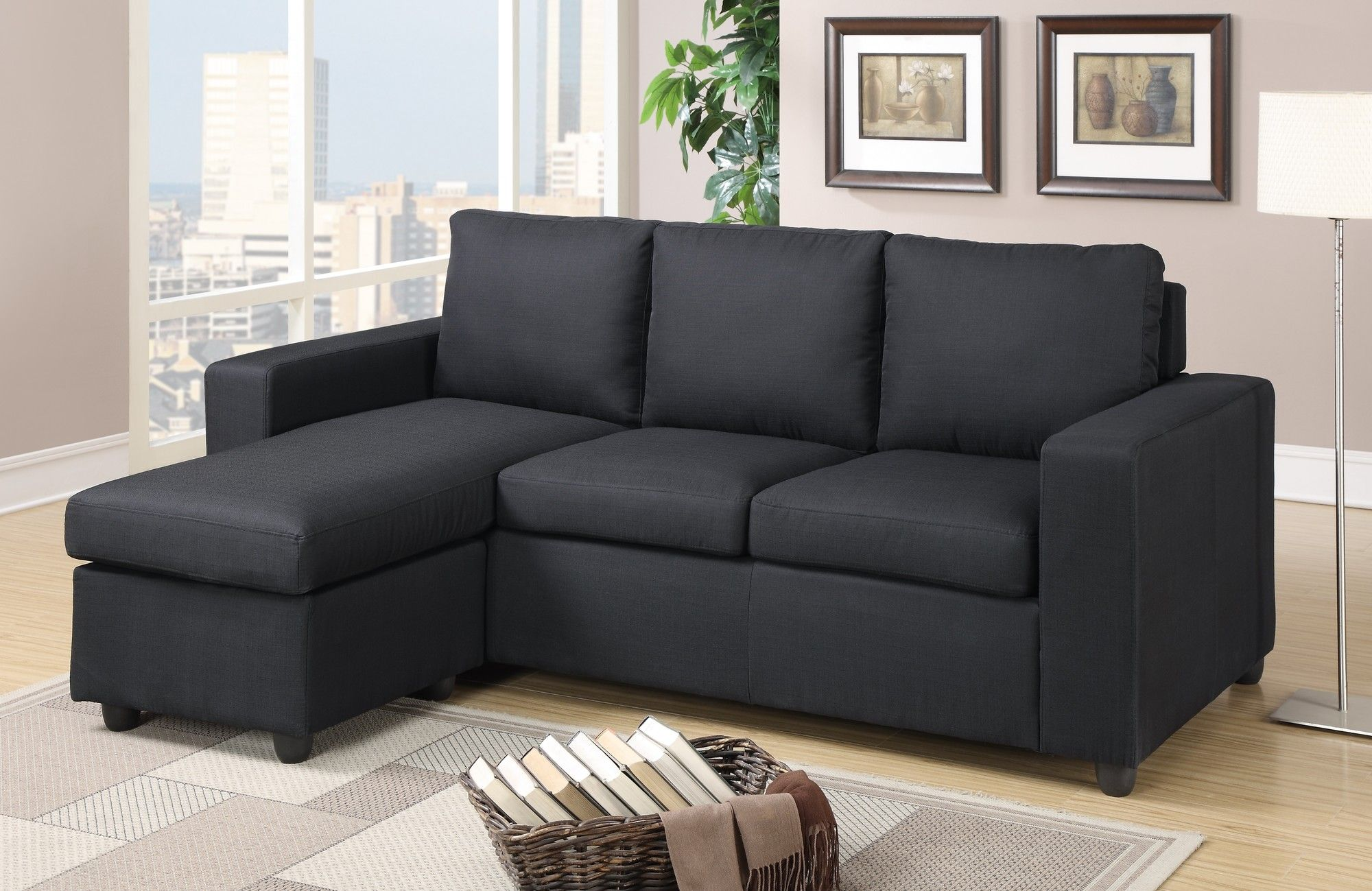 Rossa Reversible Chaise Sectional Fabric Sectional Sofas