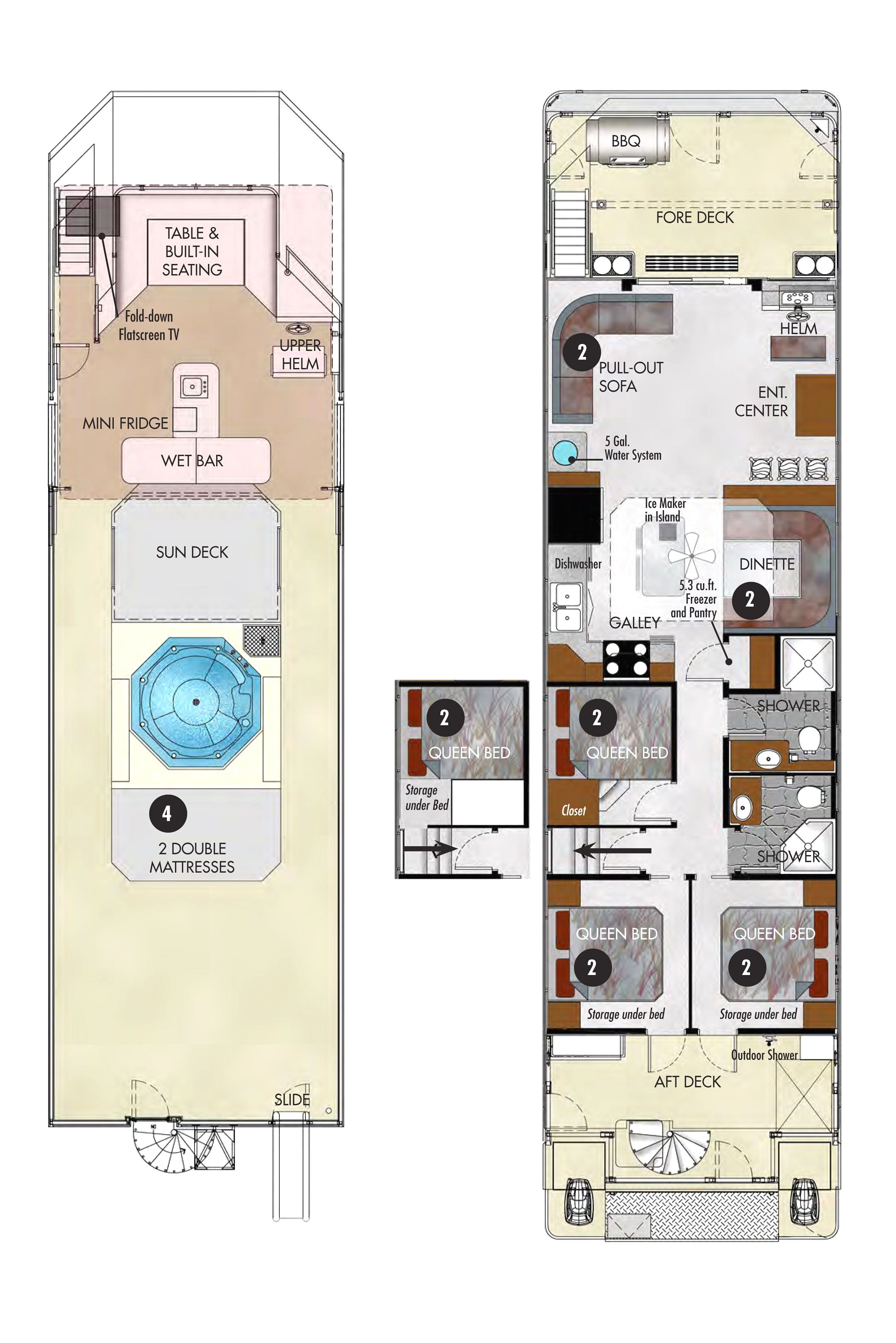 Download Luxury Houseboat Floor Plans House Scheme Showy Boat And