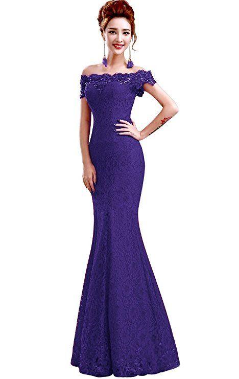 Traumhaft schönes lila Abendkleider mit Spitze. Das wunderschöne ...