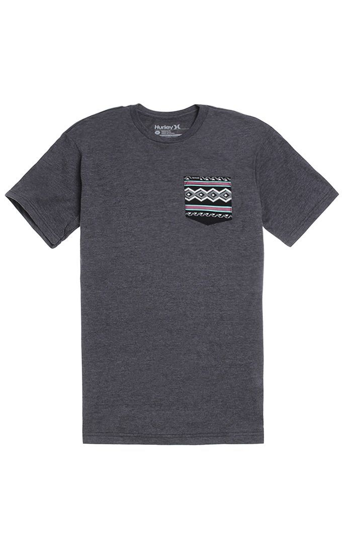 PacSun presents the HurleyMoab Pocket T-Shirt for men. This comfortable men's t-shirt comes with a charcoal heather body, premium fit, and Hurley logo loop on the striped chest pocket.Black teeHurley logo loop on bottomCrew neckShort sleevesPremium fitMachine washable50% cotton, 50% polyesterImported