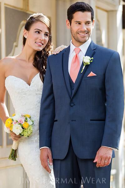 navy blue suite with coral tie more