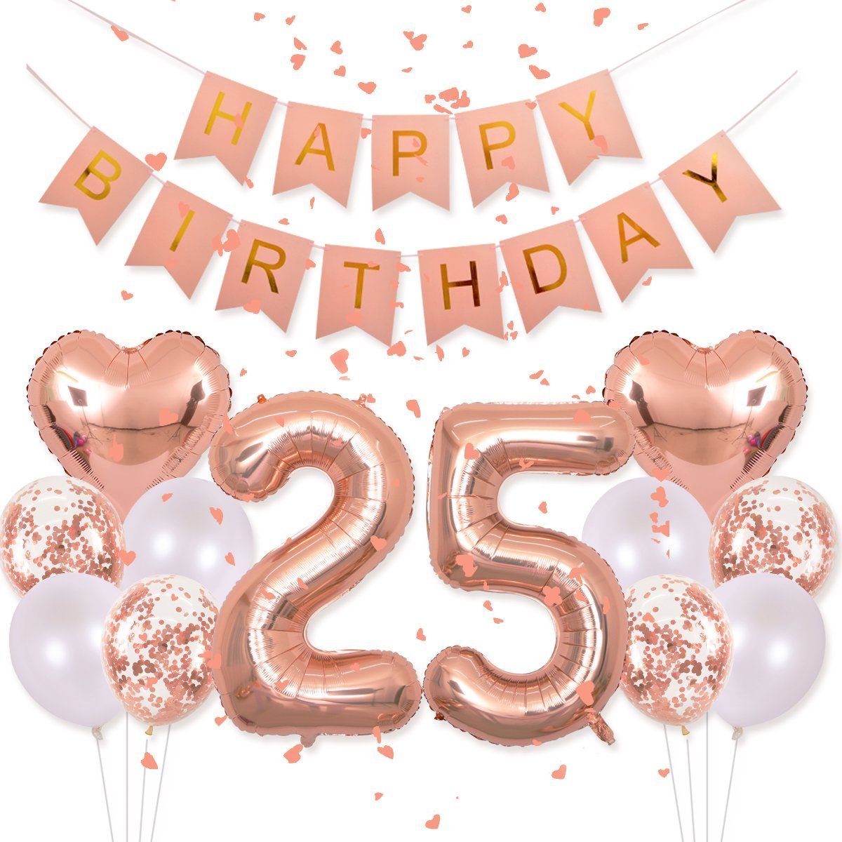 """16/"""" 25 Rose Gold Number Balloons 25th Birthday Party Anniversary Foil Balloon US"""