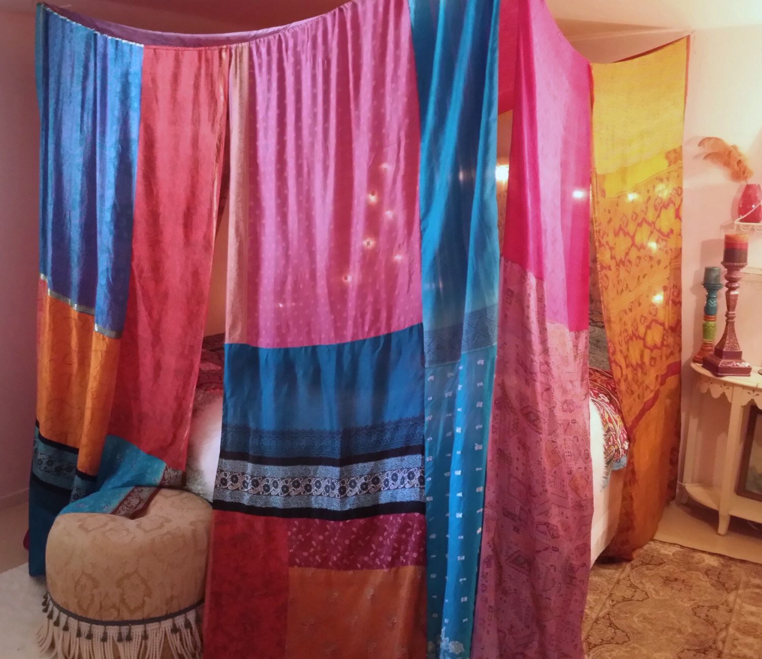 Bed canopy gypsy - Boho Bed Canopy Gypsy Hippie Hippy Hippiewild Patchwork India Sari Scarves Bedroom Decor Bohemian Chic By