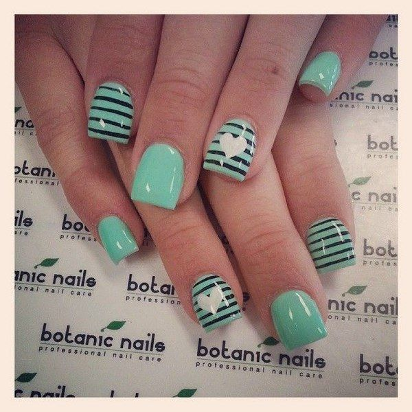 Uñas Color Menta - Mint Nail Art | uñas color menta | Pinterest
