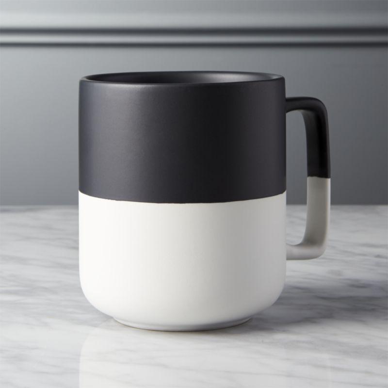 Black dip large mug unique coffee mugs white coffee