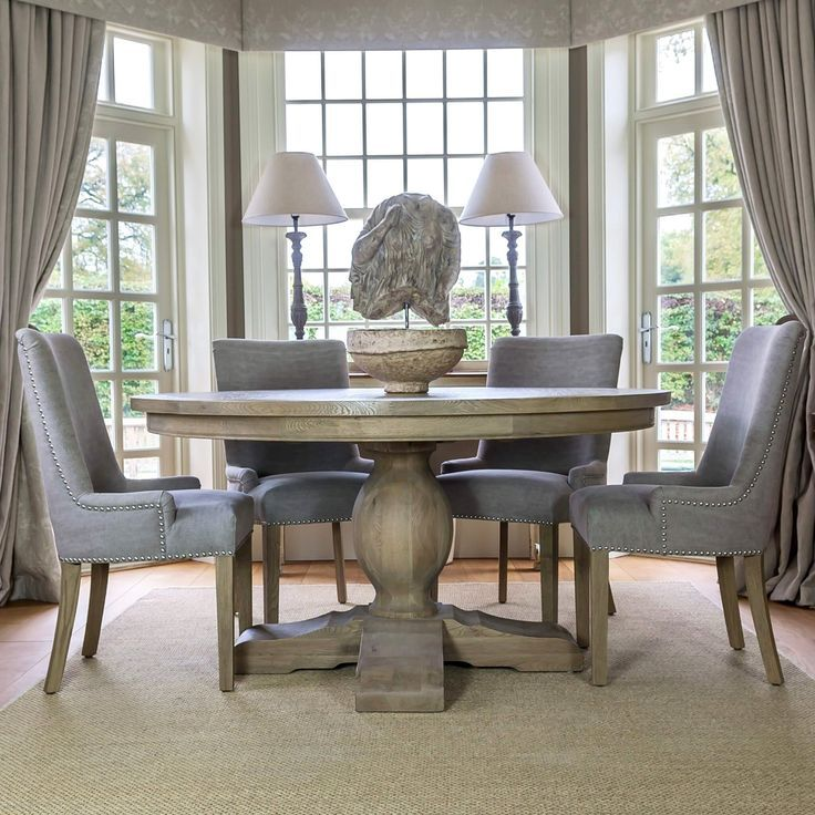 Large Round Weathered Oak Dining Table La Residence Interiors