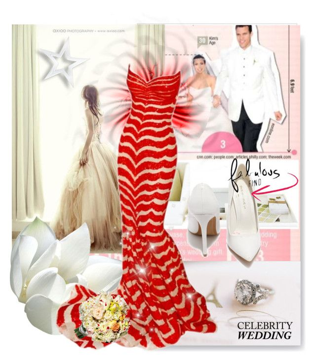 """""""You're Invited: Celebrity Wedding"""" by amerlinakasumovic ❤ liked on Polyvore featuring Zuhair Murad, Shoe Republic LA and CelebrityWedding"""