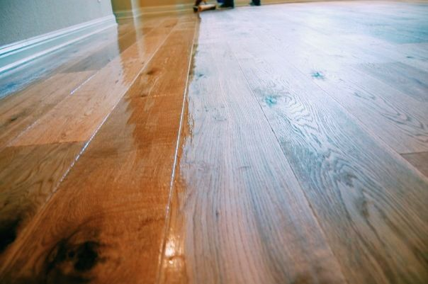 A close up shot of my work @ the Buchanan Estates Home. 7 1/2 inch French White Oak. Done by Todd's Hardwood Flooring.
