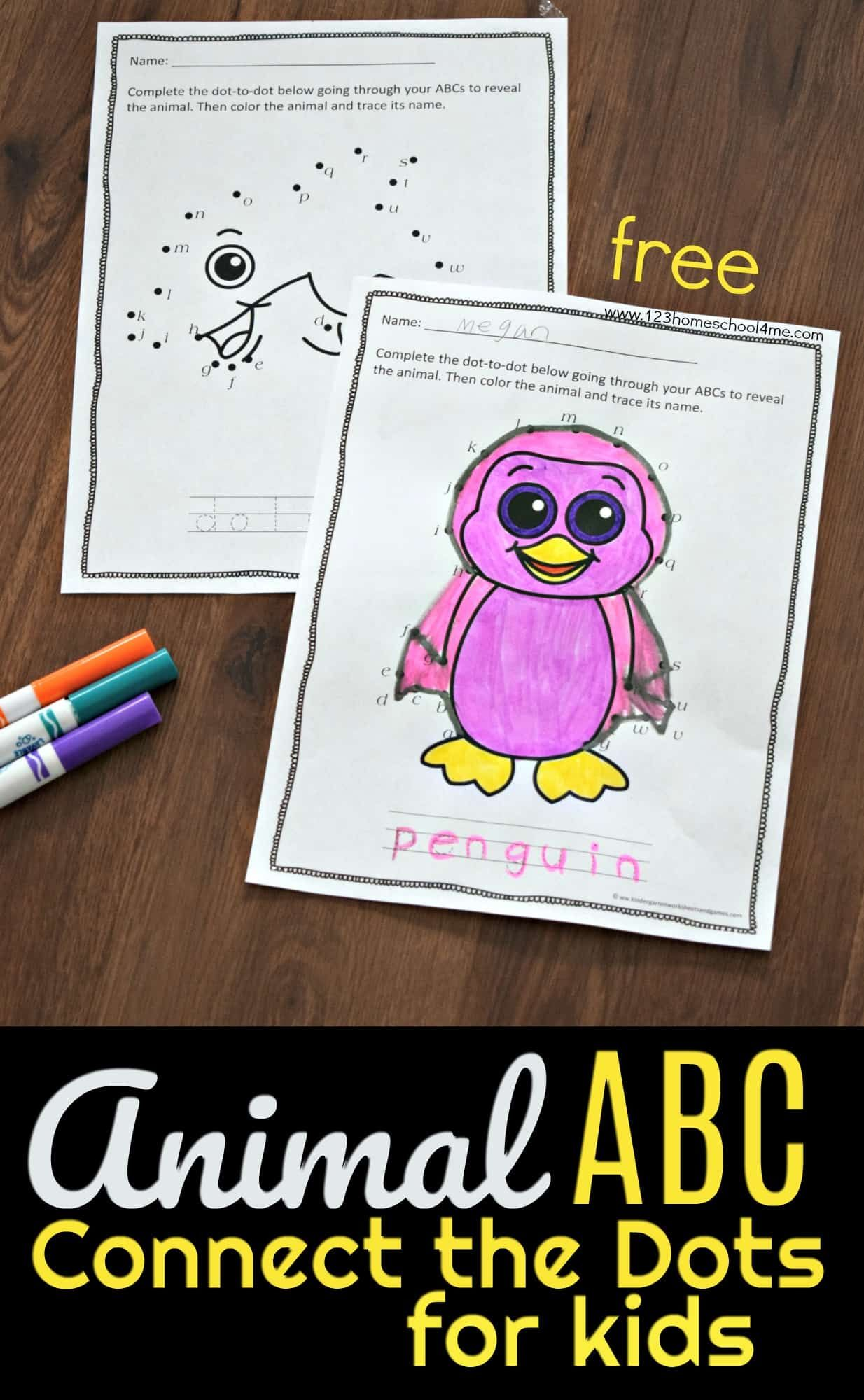 Animal Abc Connect The Dots For Kids