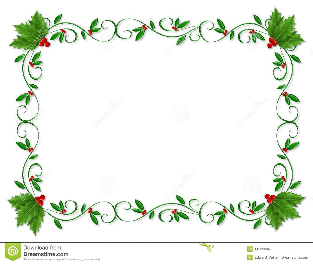 Christmas Border Holly Ornamental Download From Over 53