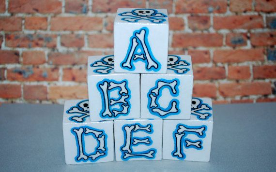 ABC Blocks Skull n Bones Blue Rockin' Blocks  6 Blocks by beebles, $24.00  Yup only our child!
