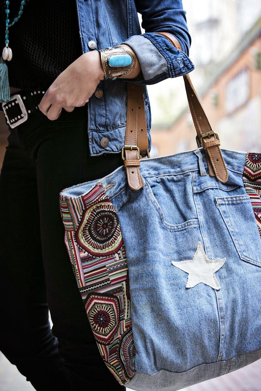 Bolso denim reciclado con jeans, Bolso de mano vaquero