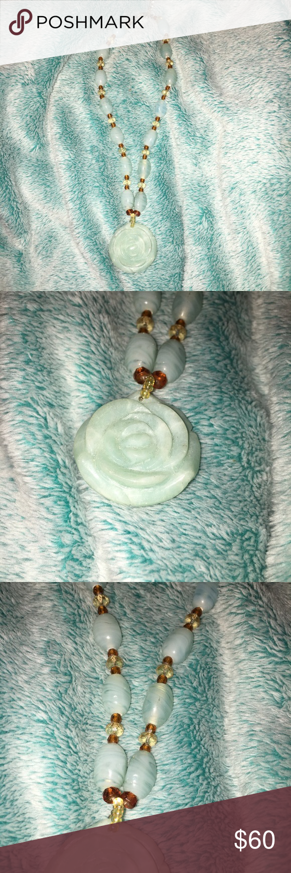 Vintage marble flower necklace Brand new in my boutique today! Vintage Marble that's been carved into a flower for the pendant and matching beads for the chain. Offers are welcome 🙂 Boutique Jewelry Bracelets