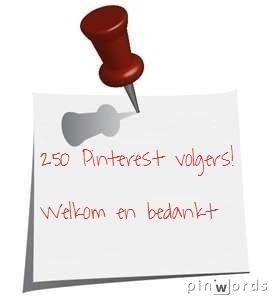 250 Pinterest volgers! Welkom en bedankt