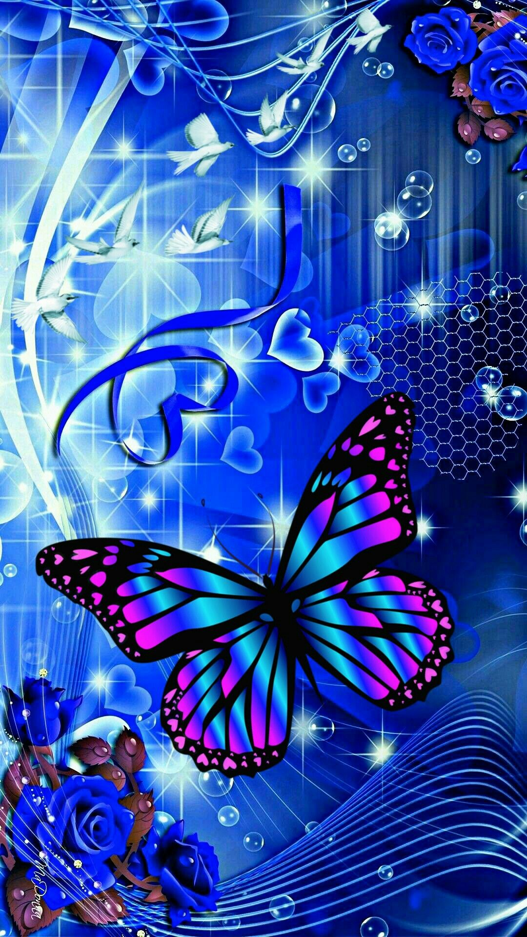 Blue Background With Colorful Butterfly En 2019