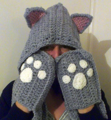 Crochet Cat Snood - Hat, scarf and gloves in one