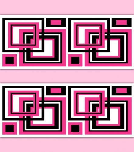 Hot Pink Abstract Geometric Square Wallpaper Border Wall Decals