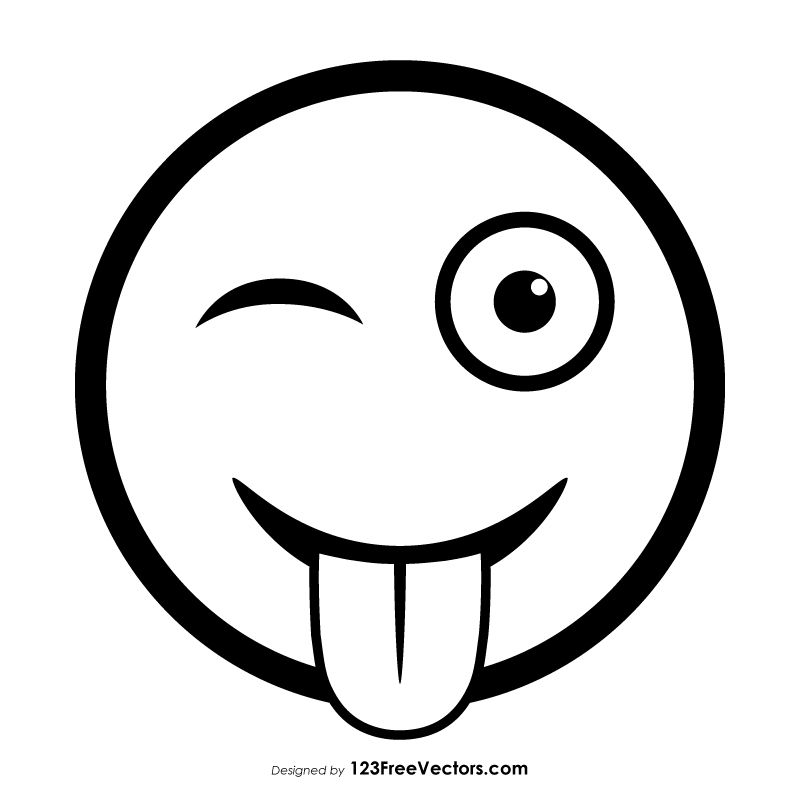 Winking Face With Tongue Emoji Outline Emoji Coloring Pages Art