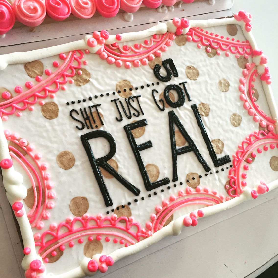 Fiftieth Birthday Cookie Cake. Pink, Black And Gold! By