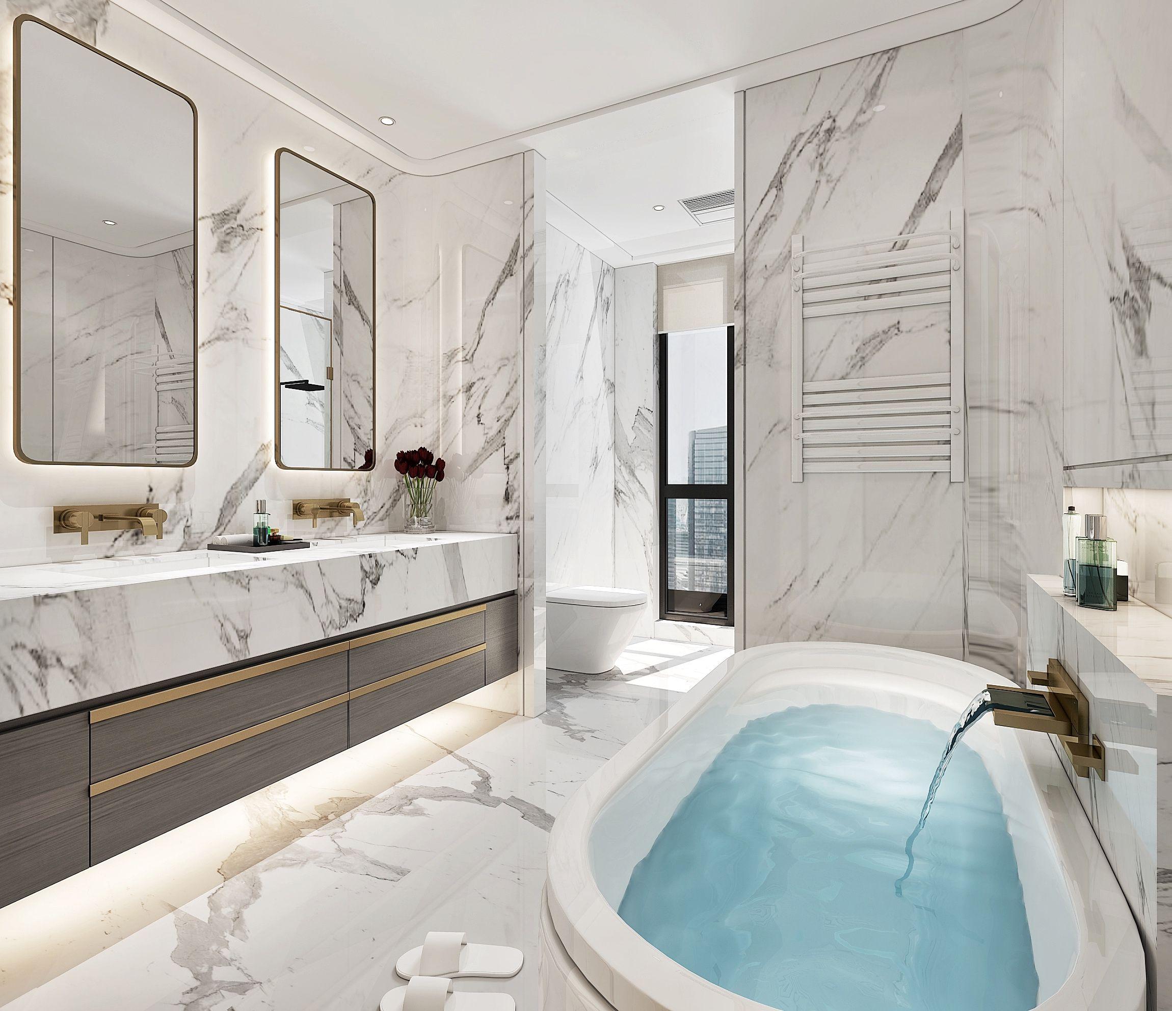 Fking goal poollike bathtub marblebathroom mi casa en for Modelos de cuartos de bano