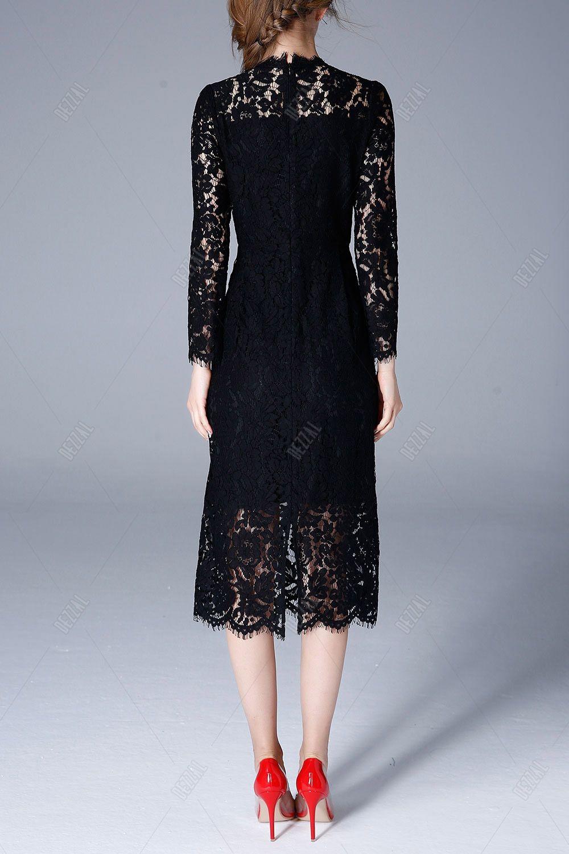 Black lace dress red shoes  Olisi Black Midi Long Sleeve Lace Dress  Midi Dresses at DEZZAL