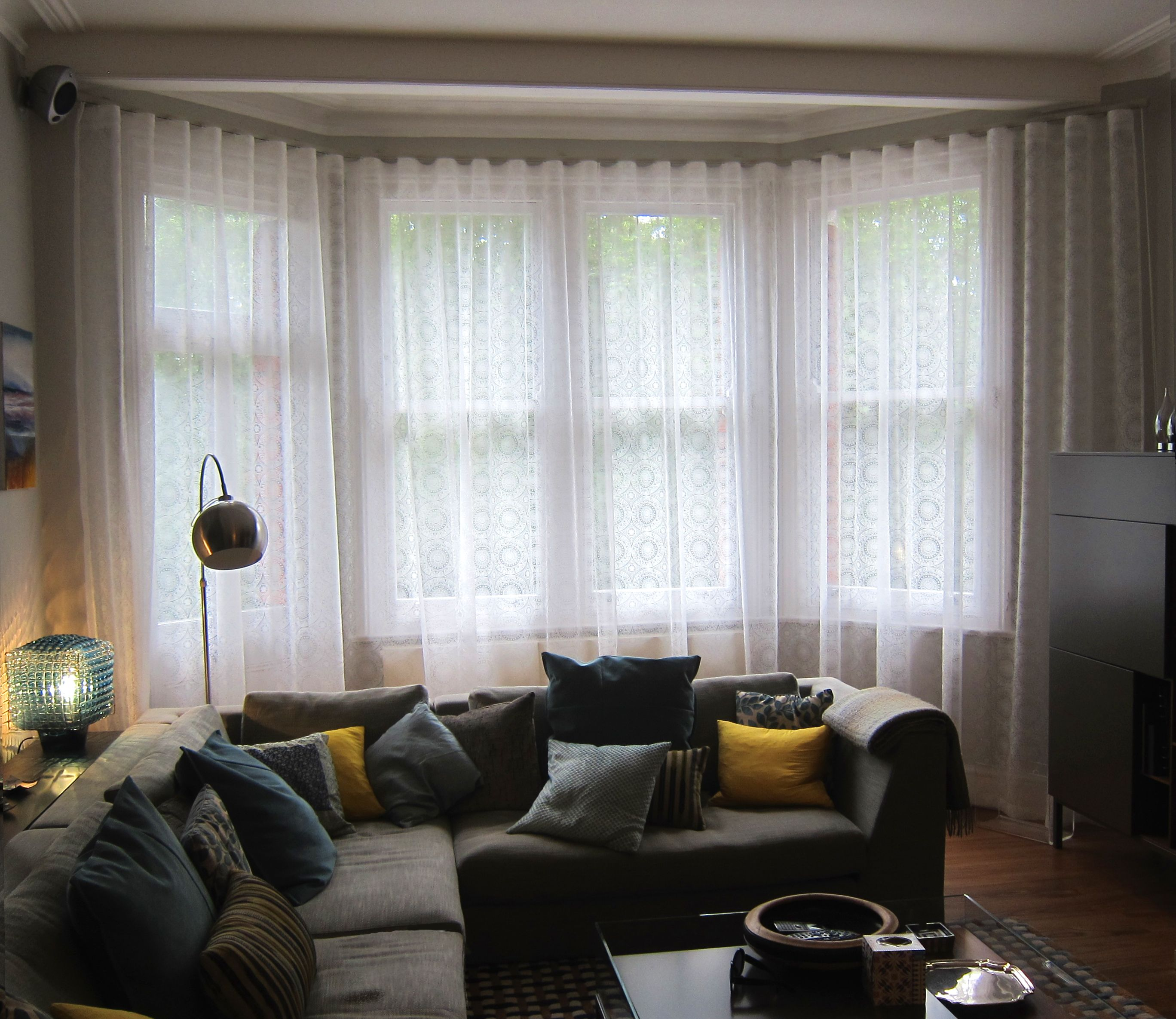 How To Hang Voile Curtains In A Bay Window Curtain