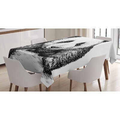 East Urban Home Ambesonne Panda Tablecloth, Baby Panda Bear Illustration Sketch Style Artwork Nature Wild Animals Theme, Rectangular Table Cover For D #babypandas