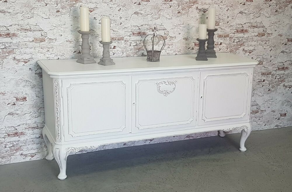 Chippendale Anrichte Sideboard Shabby Chic Antik Weiss Kommode